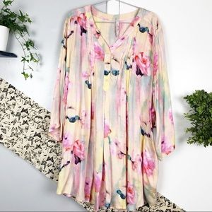 Melissa McCarthy Seven7 Pink Floral Tunic Top 3X